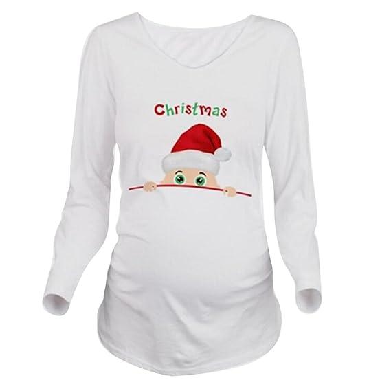 Yying Navidad Mujeres Embarazadas Camiseta Manga Larga Embarazo Camisa: Amazon.es: Ropa y accesorios