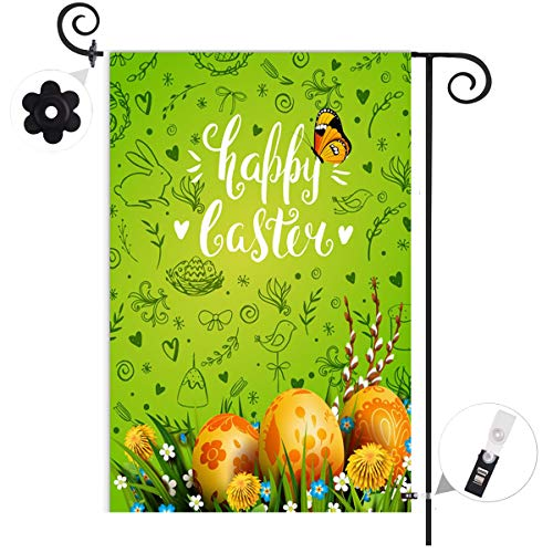 Happy Easter Butterfly Egg Flower Garden Flag Banner Vertical Double Sided,Spring Bunny Rabbit Basket Rustic Farmhouse…
