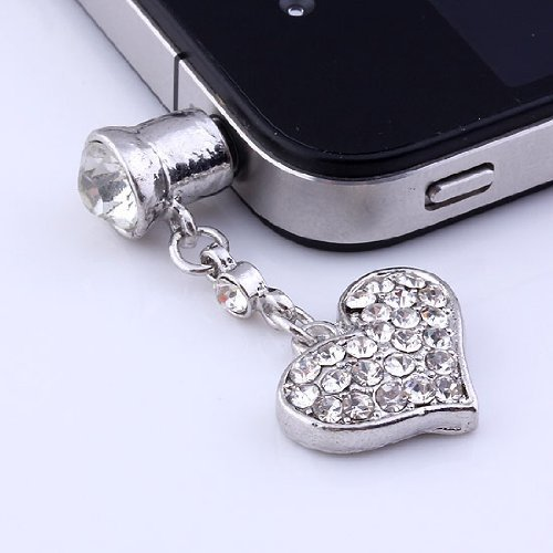 Heart Dangle Phone Charm - 1p Clear Crystal Heart Dangle Anti Dust Plug Stopper for Iphone Cell Phone