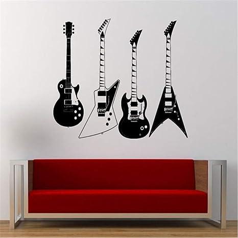 Hwhz 57X60 Cm Recogió Cuatro Tipos De Guitarras Eléctricas Tatuajes De Pared Musical Cool Rock Instrumento
