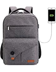 Lekesky Laptop Backpack 15.6 Inch Travel Backpack Computer Back Pack with USB Charging Port for Work/School/Women/Men, Grey