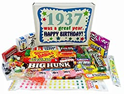 1937 80th Birthday Gift Basket Box of Nostalgic Candy from Childhood for Men and Women