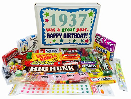 1937 80th Birthday Gift Box of Nostalgic Candy from Childhood for Men and Women