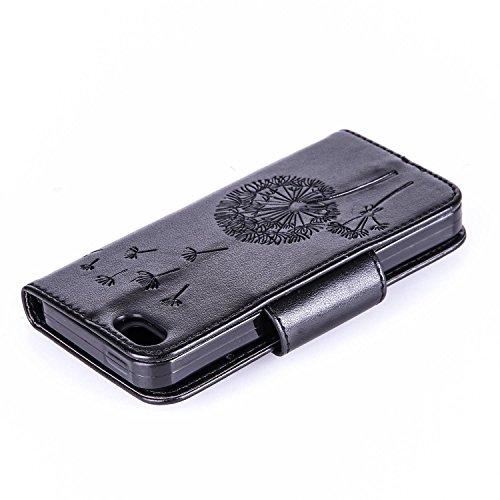 Für Apple iPhone 5 5G 5S / iPhone SE (4 Zoll) Tasche ZeWoo® Ledertasche Strass Hülle PU Leder Schutzhülle Glitzer Case Cover - L073 / Löwenzahn (schwarz)