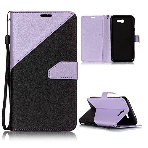 Galaxy J7 V Case, Galaxy J7 Perx, Galaxy J7 Sky Pro, NOKEA [Kickstand Feature] Luxury PU Leather Wallet Flip Protective Case Cover with Card Slots for Samsung Galaxy J7 V (2017) (Purple)