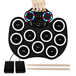 9 Pads Electronic Drum Set Roll up LED Lights Pratice Drum,Bluetooth,MIDI,Built-in Speaker,Long Hours Playtime Portable…
