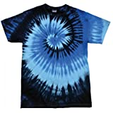 ocean blue tie dye shirt - Colortone Womens/Ladies Rainbow Tie-Dye Short Sleeve Heavyweight T-Shirt (M) (Blue Ocean)