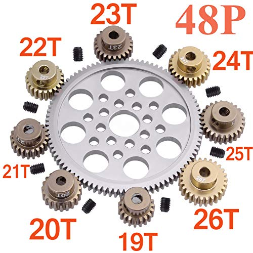 Leoie 14 Pcs Metal 48P Spur Gear 92T 85T 80T 18T Brush / Brushless Motor Pinion Gears 19T 20T 21T 22T 23T 24T 25T 26T 27T 28T for Sakura D3 ()