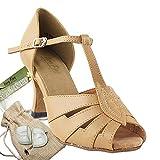 Women's Ballroom Dance Shoes Tango Wedding Salsa Dance Shoes Beige Brown 2702EB Comfortable - Very Fine 2.5'' Heel 6 M US [Bundle of 5]