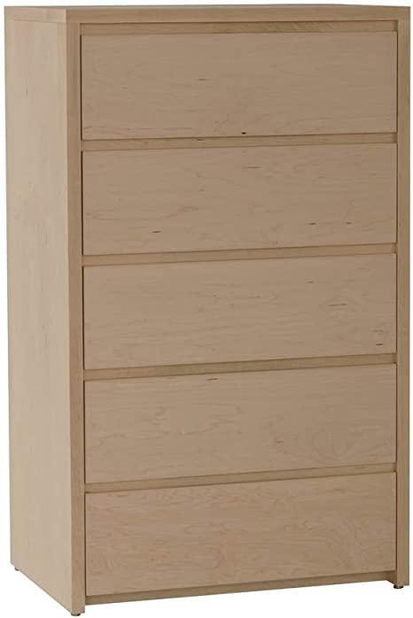 Tvilum Connect 5 Drawer Narrow Chest in Truffle