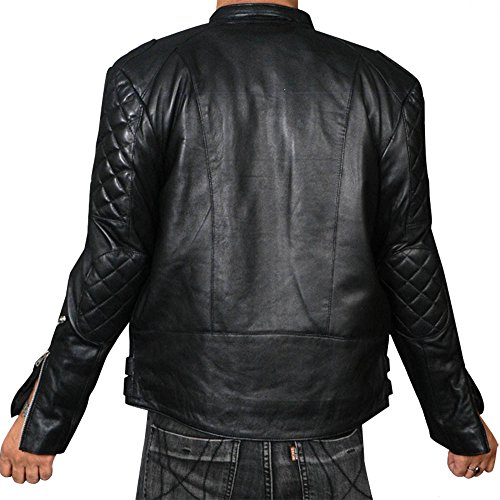 Jacket Motorcycle Brando Vintage Quilted Black Leather REEqyX