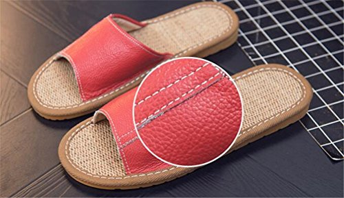 Wooden Floor Smelly Corium Anti for Summer Leather Femmes Autumn Jaunes TELLW Men Slippers Cowhide Spring Women RqAwUU8