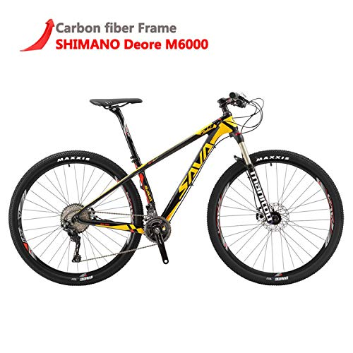 "SAVADECK DECK300 Carbon Fiber Mountain Bike 26""/27.5""/29"" Complete Hard Tail MTB Bicycle 30 Speed Shimano M6000 DEORE Group Set - (Yellow,29x19)"