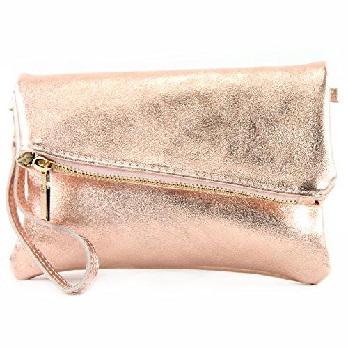 Sac d'épaule modamoda cuir petites dames de ital cuir en T95 sac poignet d'embrayage en Rosé metallic sac de de YYqBvgO