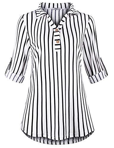 Roll Sleeve Striped Shirt - 4