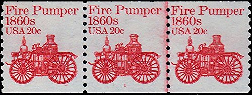 United States Scott 1908 20c Fire Pumper Plate Number 1 Coil Strip of three. Mint never hinged.