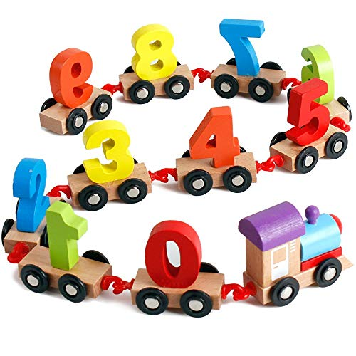 Wooden Number Toys Train with Shape Sorter & Stacking Blocks, Toddlers Puzzle Toys, Pull Toys for Toddlers, Preschool Educational Toys ()