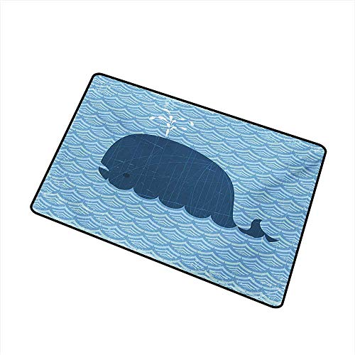 Becky W Carr Whale Welcome Door mat Little Whale Water on Top with Artwork Deco Wavy Like Patterned Background Abstract Work Door mat is odorless and Durable W15.7 x L23.6 Inch,Blue