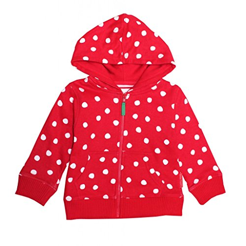 Toby Tiger Organic Cotton Red Polka dot Hooded Sweater (6-12 (Tiger Cotton Sweater)