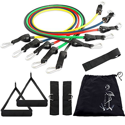 Resistance bands Kit – Best Heavy Workout for Legs and Knee – Connects to Your Door With A Door Anchor – Great Training for Pilates and Yoga Workouts - Awesome Exercises for Men and Women – No Hassle 1 Year Guarantee