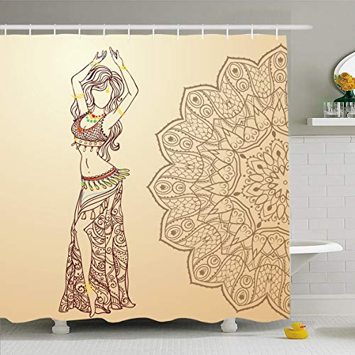 Ahawoso Shower Curtain 60x72 Inches Necklace Red Arab Girl Belly Dance Abstract Dress Ballet Gold India Dancer Design Navel Waterproof Polyester Fabric Set with Hooks