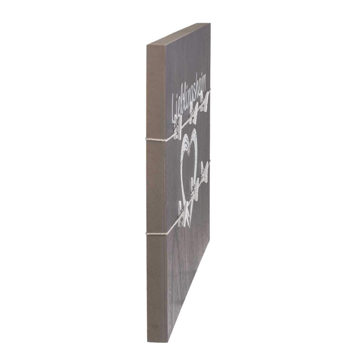 OOTB graues Holz-Board Lieblingsheim 220044 Ca.40x40cm mit 2 B/änder /& 6 Klammern