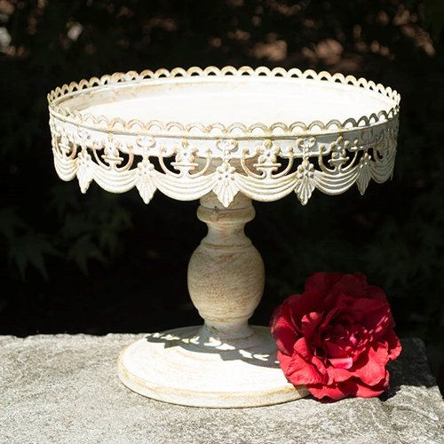 Metal Cake and Dessert Stand, 10 inch Diameter, Vintage White