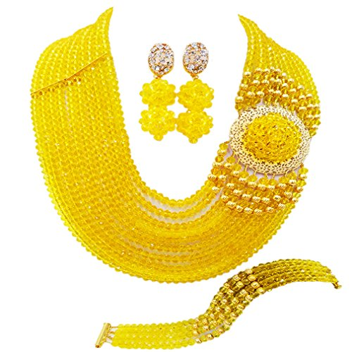 aczuv Crystal Royal Blue Beads Jewelry Set African Necklaces for Women Nigerian Wedding Jewelry Sets (Yellow)