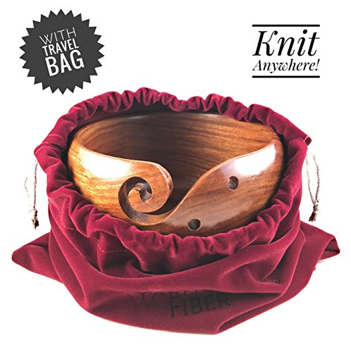 Yarn & Fiber Premium Yarn Bowl | Large 7x4 Inch with Travel Bag | Smooth Handcrafted Rosewood, Stop Yarn From Rolling, Knitting and Crochet Yarn Holder by Yarn & Fiber (Image #3)