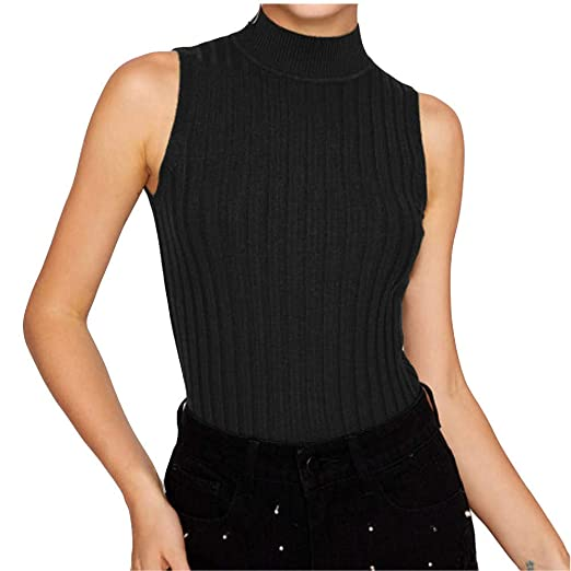 ba67ac43a0d Womens High Neck Ribbed Knit Vest Casual Blouse Vest Long Length Bottom Tank  Tops(Black