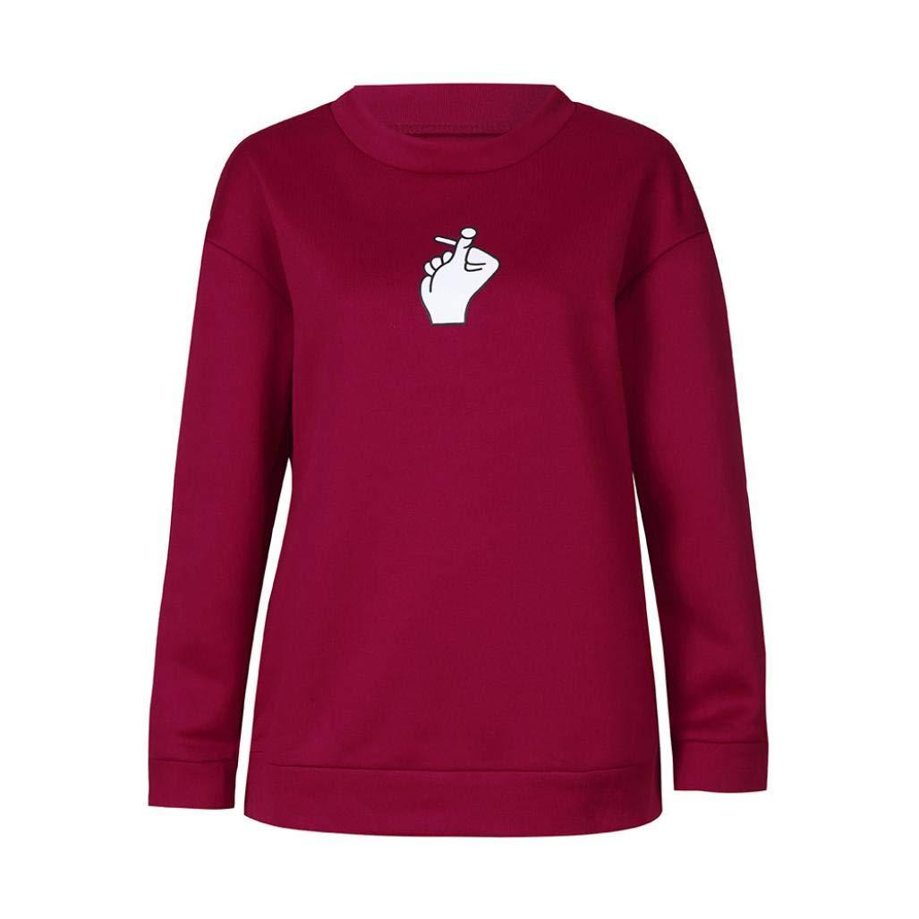 SANFAHSION Sweatshirt Mode Impression Haut Manche Longue Imprimé Carton Blouse Tops Élégant Sweat Chic Femme coton blanc shirt femme mode haut 1