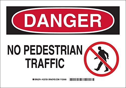 "Brady 123741 Machine and Operational Sign, Legend""No Pedestrian Traffic"", 10"" Height, 14"" Width, Black and Red on White"