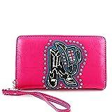 Montana West Cowboy Boots Hat Western Zipper Wristlet Wallet Hot Pink