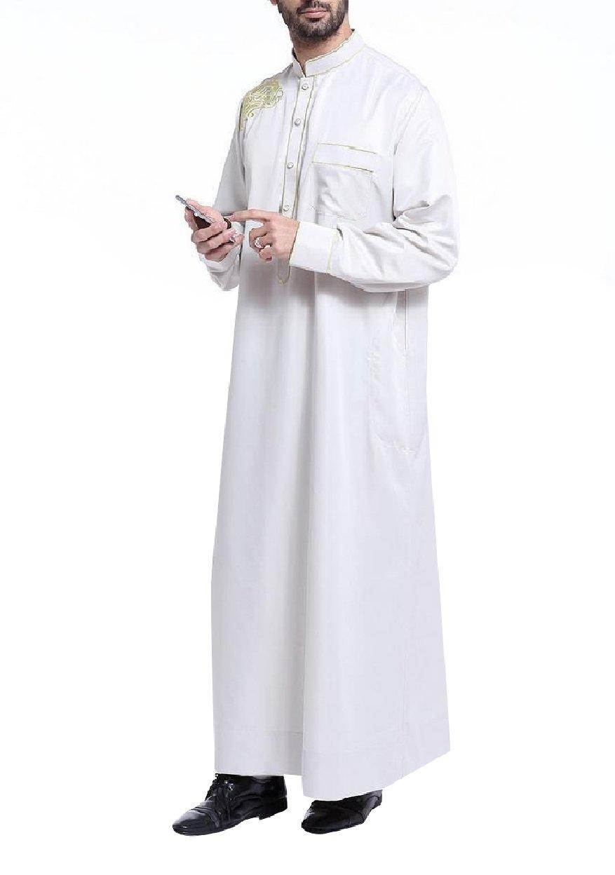 Tootless Men's Islamic Embroidery Long-Sleeve Muslim Thobes Dishdasha Light Grey M