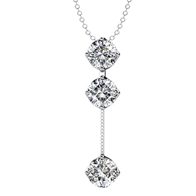 422ffd5b87762 Cate & Chloe Sloane Hero 18k White Gold Pendant Necklace with Swarovski  Crystals, Trendy Unique Sparkling Round Cut Diamond Necklace, Drop Dangling  ...