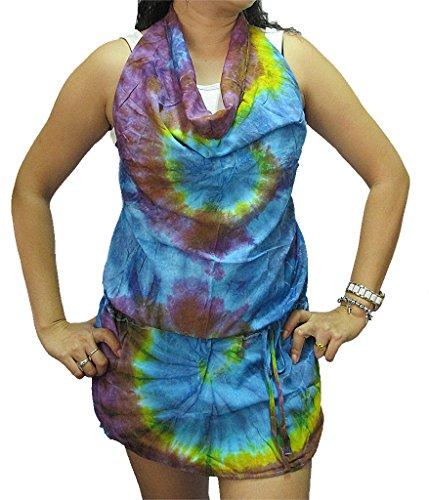 Women's Tie Dye Open-back Drop-waist Rayon Top - T0250 - Drop Waist Peasant Top