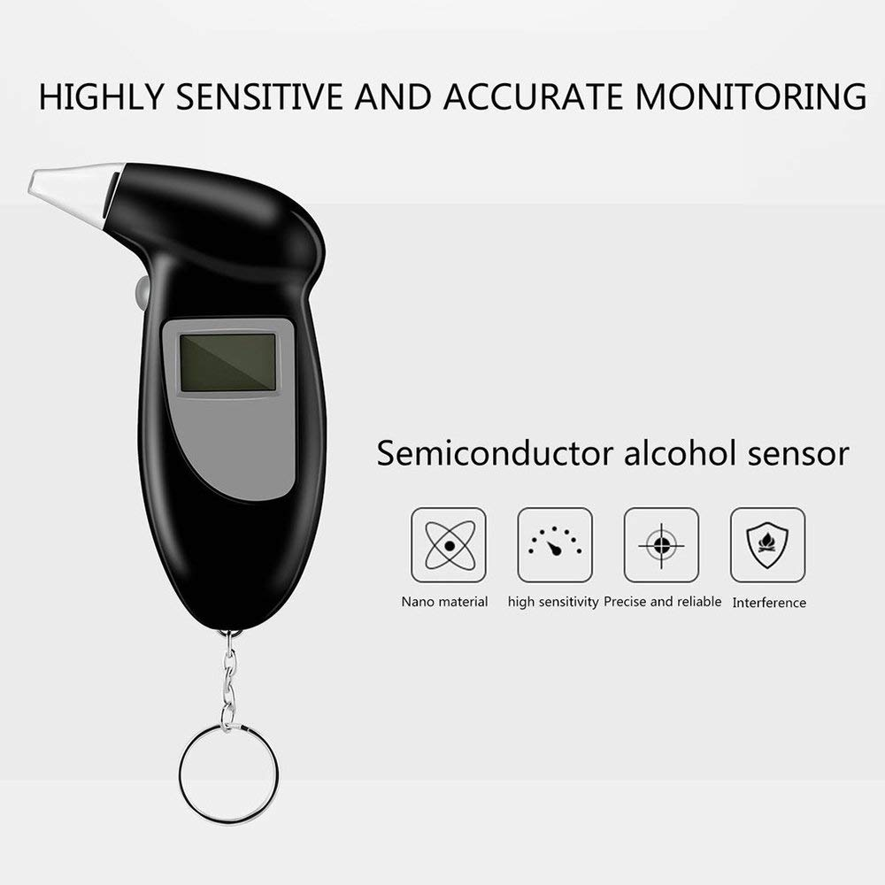 Yaoaoden Digital Alkohol Tester Mit LCD Display Mundst/ücke Analyzer Detector Schwarz