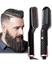 AU Plug Hair Straightening Brush, Beard Straightener Brush, 3-in-1 Ionic Straightening Comb with Anti-Scald Feature Heat Resistant, Hair Straightening Styling Comb, Electric Hair Straightener Brush