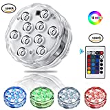 Submersible LED Light, LEShop 10 LED RGB Waterproof Battery Powered Lights with IR Remote Controller for Aquarium, Vase Base, Pond, Swimming Pool, Garden, Party, Weeding, Christmas, Halloween (1)