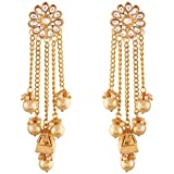 I Jewels Gold Plated Pearl & Kundan Earrings for Women (E2606FL)