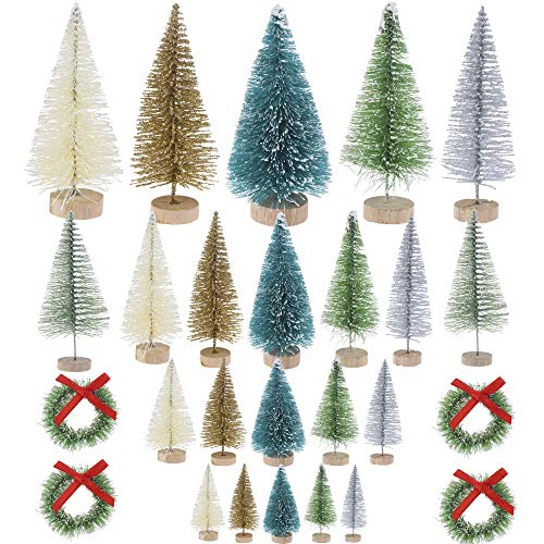 LOCOLO 26 Pcs Mini Sisal Snow Frost Christmas Trees Bottle Brush Trees with Christmas Wreaths, Winter Snow Ornaments Tabletop Trees for Xmas Home Room Table Decor (From Bottles Tree Christmas)