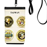 Logo Taiwan Features travel Faux Leather Smartphone Hanging Purse Black Phone Wallet Gift