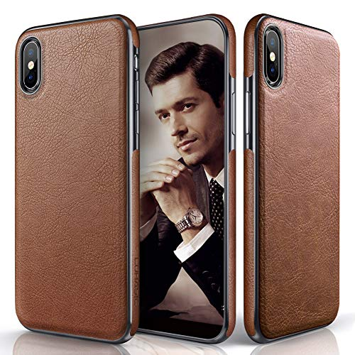 (LOHASIC for iPhone Xs Max Case, Premium Leather Slim Luxury Flexible Hybrid Defender Anti-Slip Soft Grip Scratch Resistant Protective Cover Cases Compatible with iPhone Xs Max (2018) 6.5 inch - Brown )