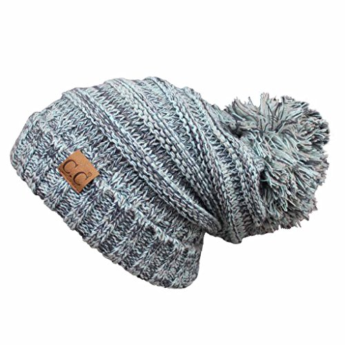 Hatsandscarf CC Exclusives Unisex Oversized Slouchy Beanie With Pom (HAT-6242POM) (Mint Amazon)