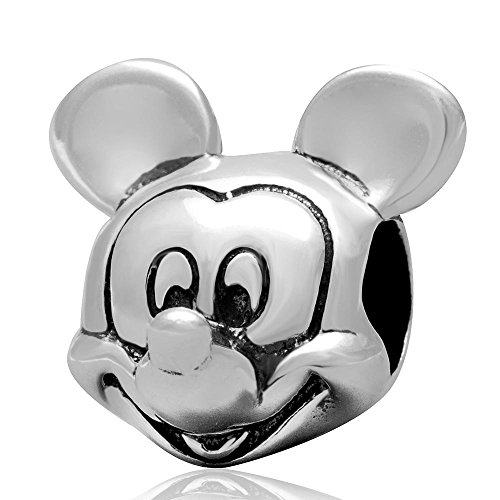 Hoobeads European Style Antique 925 Sterling Silver Charm Beads Mickey Mouse & Minnie Mouse Fits European 3mm Bracelets ()