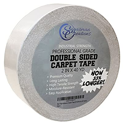 Carpet Tape Double Sided VALUE PACK 33% MORE Heavy Duty Industrial Grade Indoor/Outdoor Use Securely Adheres Rugs Mats Tile Vinyl Stair Treads and Carpet To All Surfaces