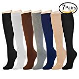 7 Pairs Compression Socks For Women and Men -- Best Medical, Nursing, Athletic, Edema, Diabetic,Varicose Veins,Maternity,Travel,Flight Socks ,Shin Splints - Below Knee High (Small/medium, Assort 1)