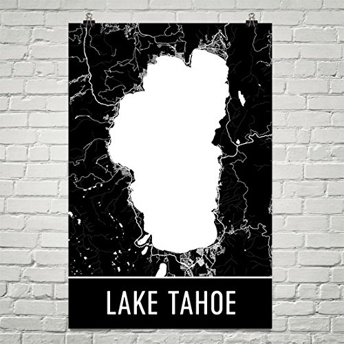 Lake Tahoe Poster, Lake Tahoe Art Print, Lake Tahoe Wall Art, Lake Tahoe Map, Lake Tahoe City Map, Lake Tahoe Nevada City Map Art, Lake Tahoe Gift, Lake Tahoe Decor, Black and Whit