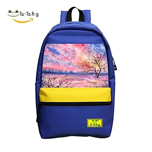 Color Autumn Spring School Bag Student Backpack for Children Blue