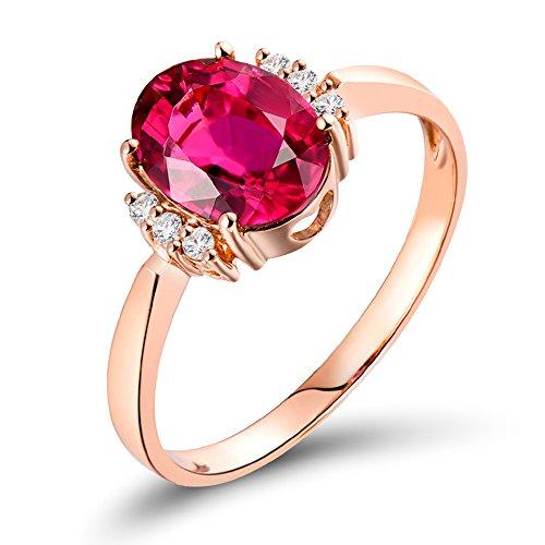 Lanmi 14k/18k Rose Gold Natural Pink Tourmaline Diamonds Ring Engagement Promise for Women